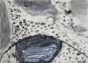 Aquarell, Kohle, Tusche 15x15 cm